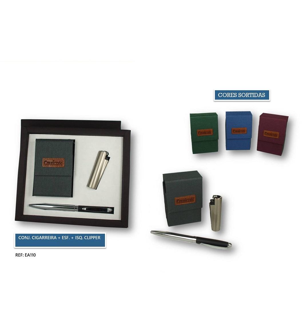 Conjunto Cigarreira + Esferográfica + Isqueiro Clipper