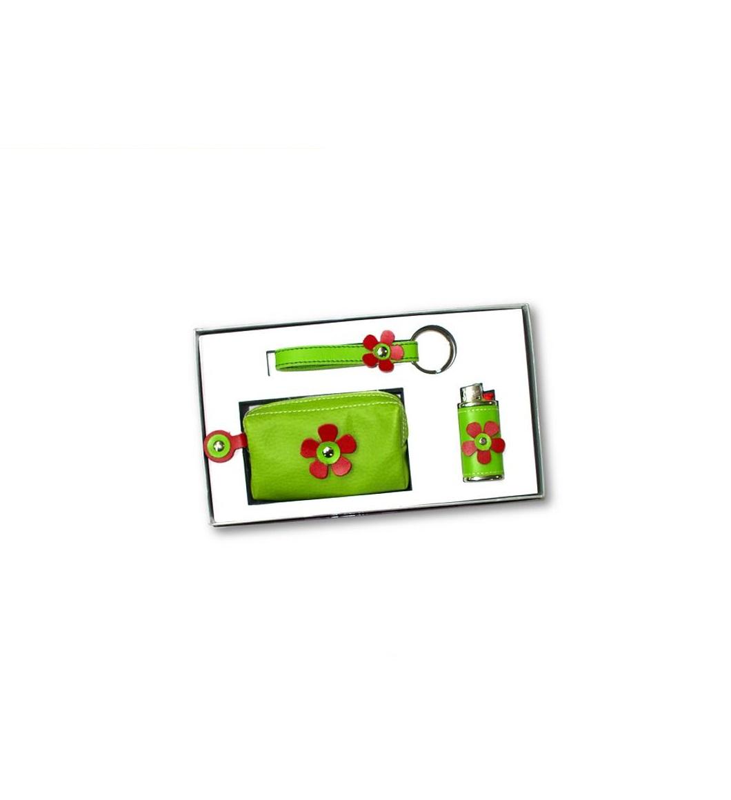 Conjunto de Porta-moedas + Isqueiro + Porta-chaves