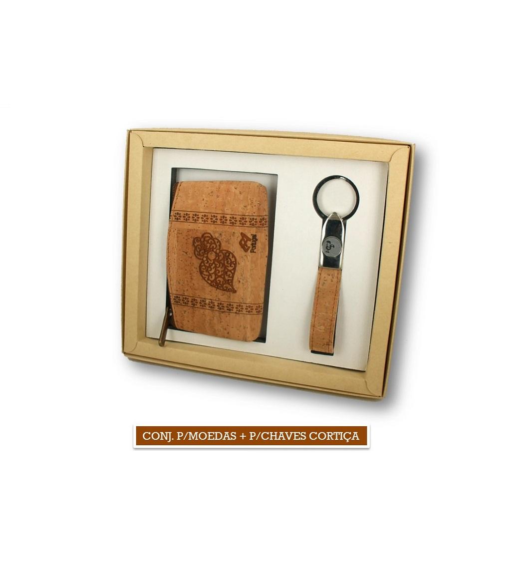 Conjunto Porta-moedas + Porta-chaves de Cortiça